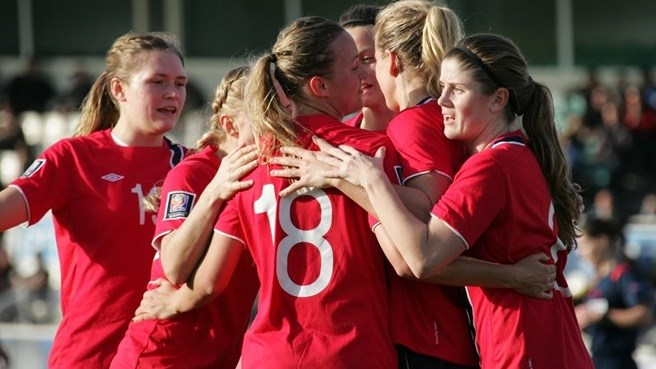 Norway celebrate during their FIFA Women's World Cup qualifier against Greece ©Intime